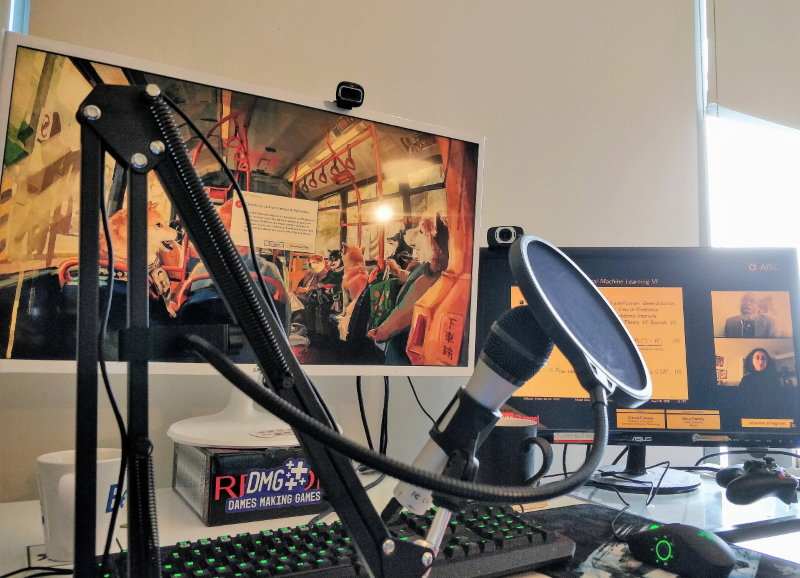 Home office studio with microphone and webcam
