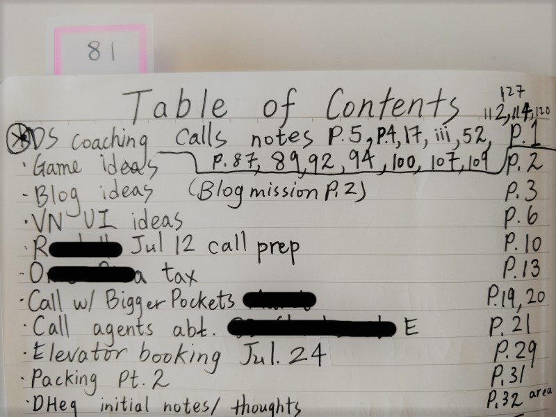 Table of contents on journal note taking technique