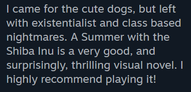 A Summer with the Shiba Inu review quote
