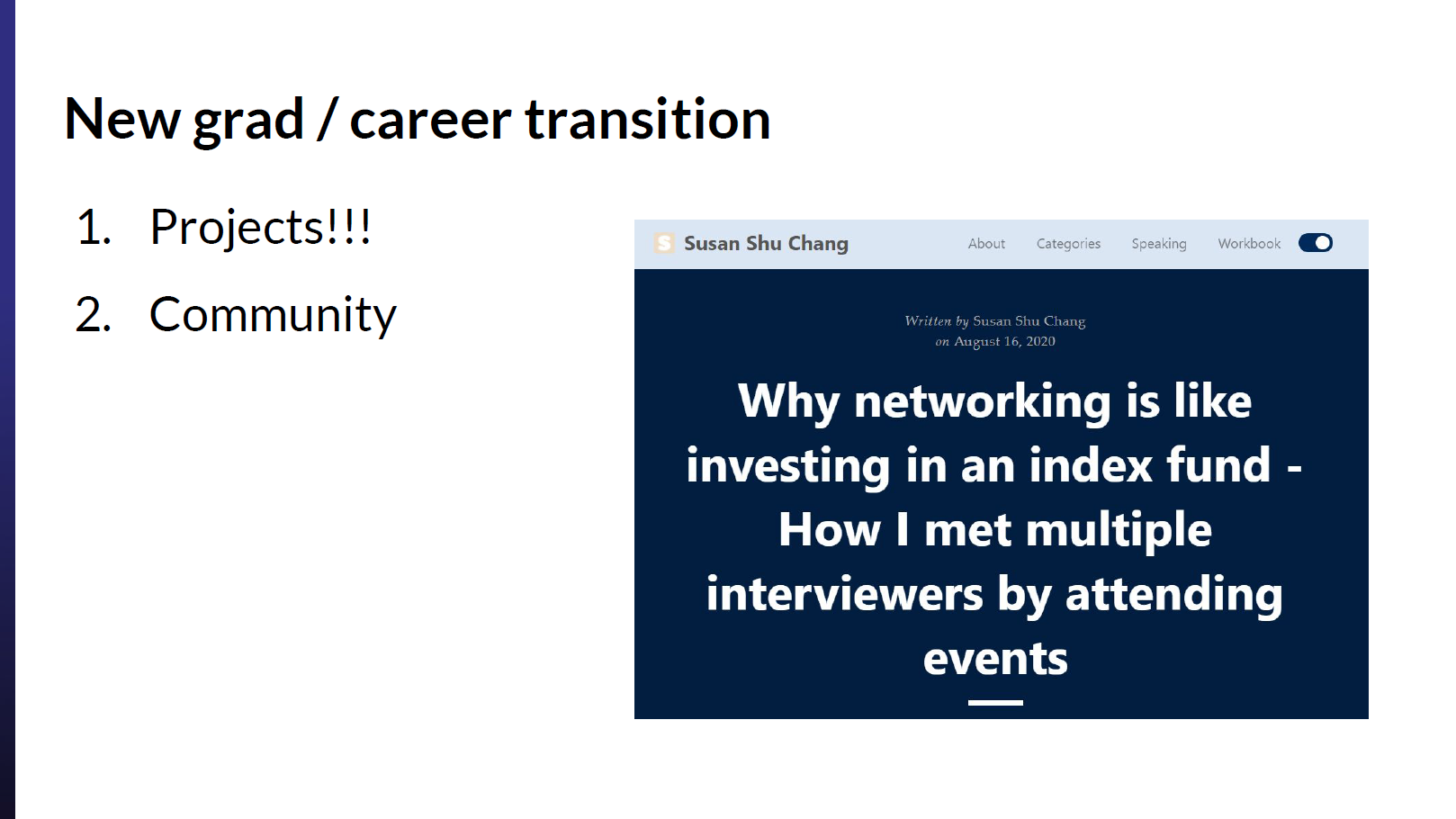 Finding a data science job as a new grad: Attending conferences and events.